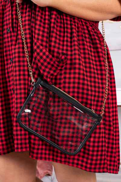 purse, crossbody, chain, zipper, rectangular, clear, black edges, small