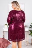 dress, short, long sleeve, vneck, tie waist, burgundy, solid, glittery, flowy, fun, party