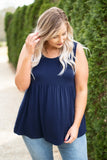 tank, scoop neck, babydoll, flowy, comfy, spring, summer, navy