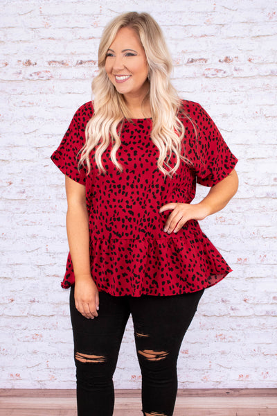 shirt, short sleeve, loose sleeves, babydoll, ruffle, red, black, leopard, loose, comfy