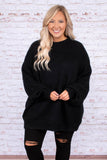 sweater, long sleeve, bubble sleeves, high neck, long, oversized, black, solid, comfy, fall, winter