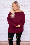 shirt, long sleeve, off the shoulder, burgundy, solid, loose, flowy, comfy, fall, winter