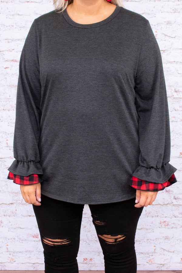 shirt, long sleeve, ruffle cuffs, plaid cuffs, red, black, fitted, charcoal, solid, comfy, curved hem, fall, winter