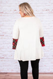 shirt, three quarter sleeve, ruffle sleeves, white, solid, plaid ruffles, red, black, flowy, comfy, fall, winter