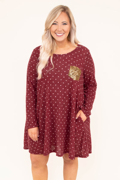 dress, short, long sleeve, gold glitter pocket, burgundy, white, polka dots, flowy, comfy, fall, winter