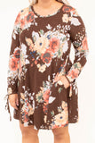 dress, short, long sleeve, brown, floral, white, green, red, flowy, comfy