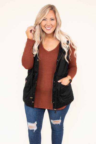 shirt, long sleeve, vneck, curved hem, fitted, rust, solid, comfy, fall, winter