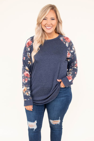 shirt, long sleeve, curved hem, navy, floral sleeves, pink, yellow, green, white, comfy, fall, winter
