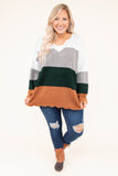 sweater, long sleeve, white, gray, green, orange, colorblock, curved hem, zigzag hem, zigzag neckline, comfy, fall, winter