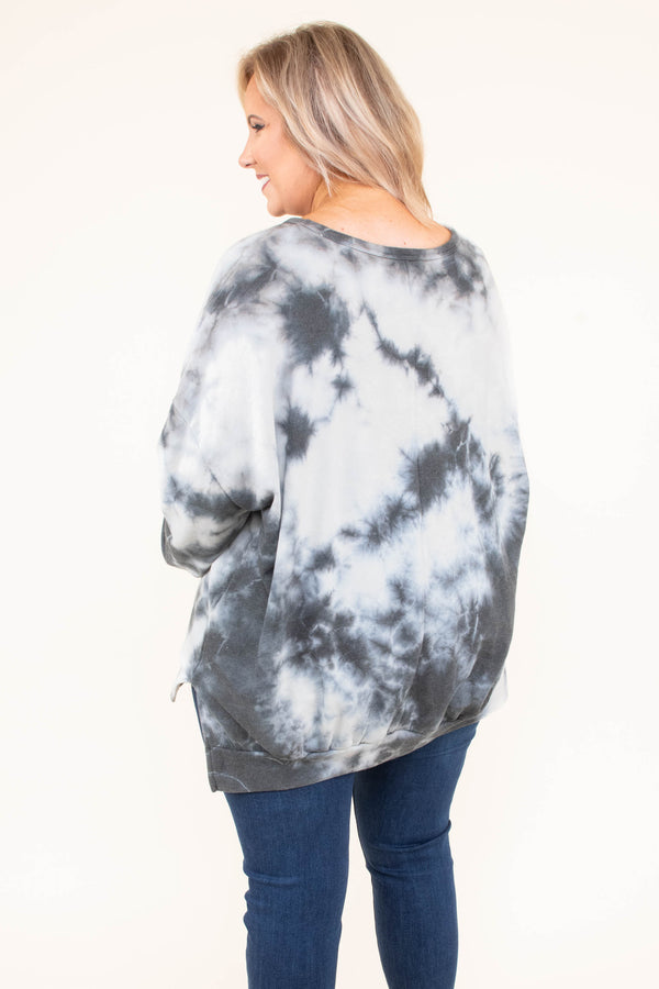 shirt, long sleeve, bubble sleeves, long, black, white, tie dye, side slit, comfy, fall, winter