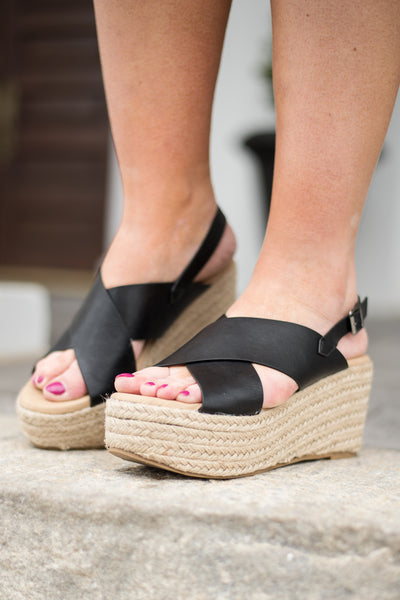 Downtown Date Night Wedges, Black