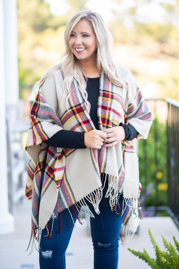 top, poncho, plaid, tan, yellow, red, flowy, cozy, black, ivory