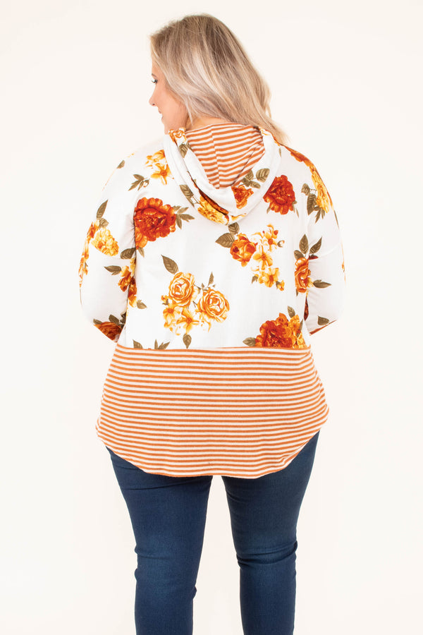 hoodie, long sleeve, hood, drawstrings, long, curved hem, white, orange, yellow, green, floral, stripes, colorblock, comfy, outerwear, fall, winter