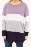 shirt, long sleeve, long, curved hem, purple, white, gray, navy, colorblock, loose, comfy, fall, winter
