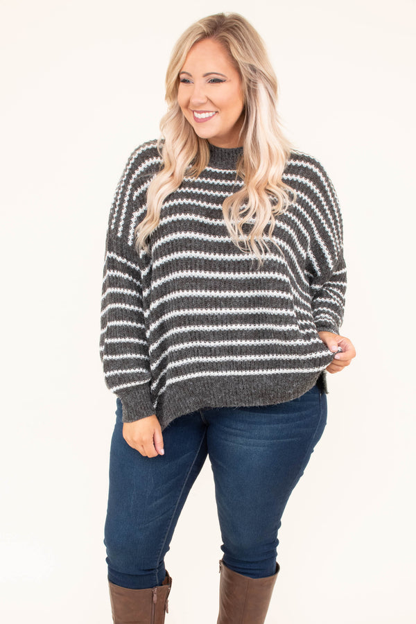 sweater, long sleeve, short, high neck, charcoal, white, striped, comfy, fall, winter