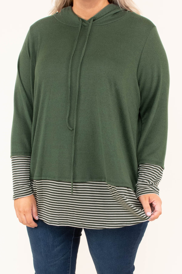 hoodie, long sleeve, hood, drawstring, curved hem, long, olive, striped cuffs, striped hem, comfy, outerwear, fall, winter