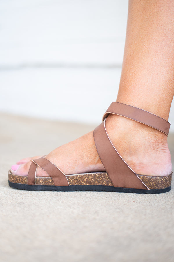 sandals, strappy, buckles, cork sole, brown, ankle wrap, spring, summer