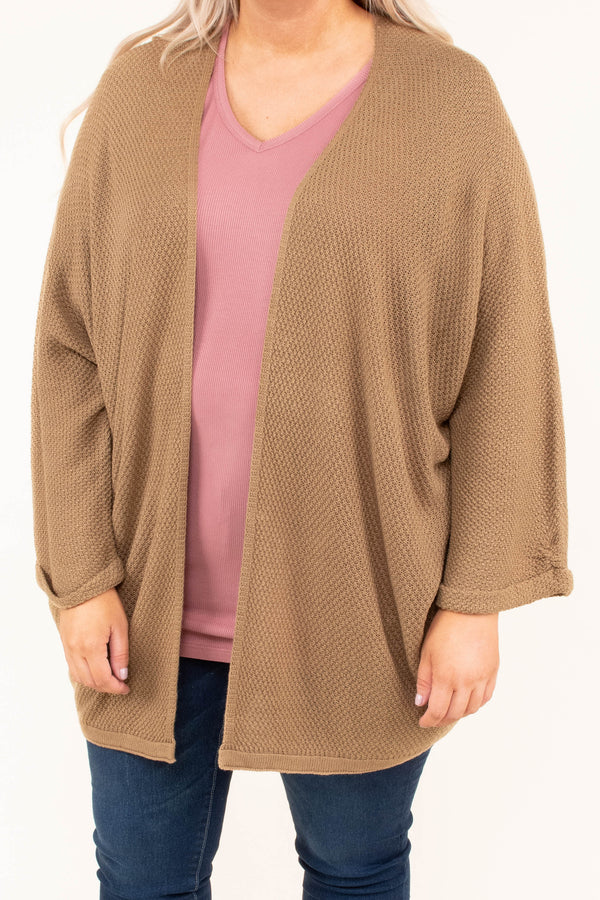 cardigan, long sleeve, loose sleeves, long, mocha, solid, comfy, fall, winter