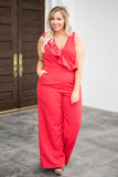 jumpsuit, red, pockets, pants, tank top, ruffle, v neck