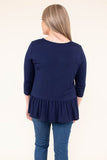 shirt, long sleeve, dropped waist, ruffle, loose sleeves, flowy, navy, solid, comfy