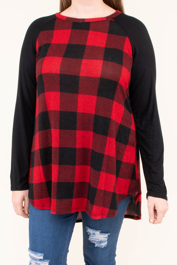 tunic, long sleeve, curved hem, longer back, red, black, plaid, black sleeves, comfy, loose, fall, winter