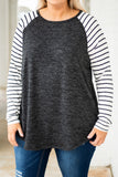 shirt, long sleeve, curved hem, black, heathered, striped sleeves, white, comfy, flowy, fall, winter