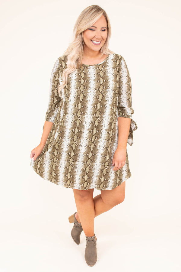 dress, short, three quarter sleeve, tie cuffs, curved hem, olive, white, snakeskin, flowy