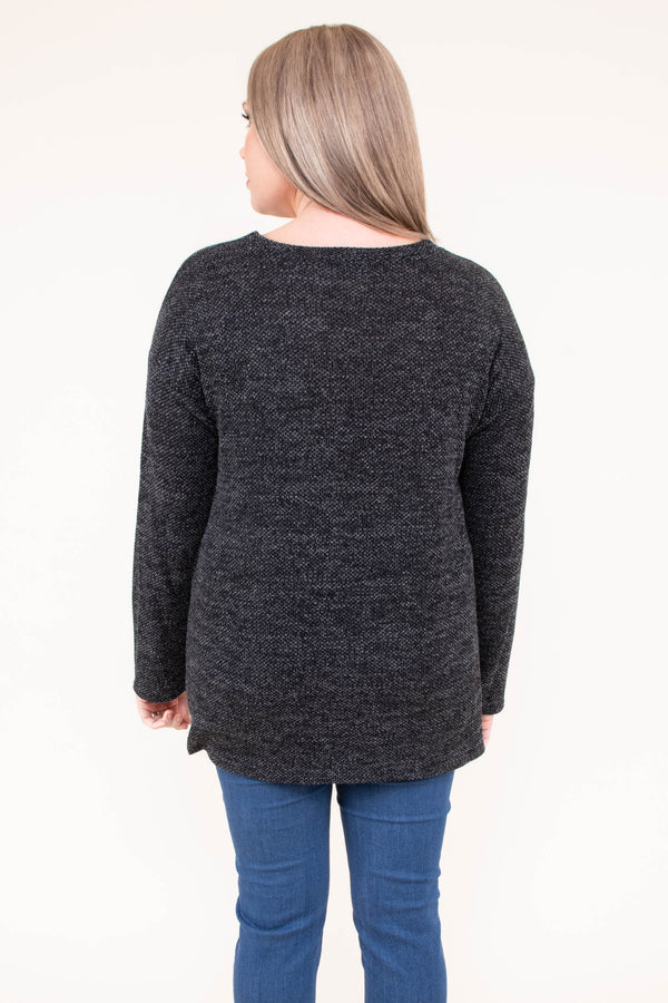shirt, long sleeve, twisted hemline, glitter pocket, black, heathered, comfy, fall, winter