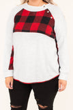 shirt, long sleeve, curved hem, button detail, gray, plaid details, red, black, comfy, fall, winter