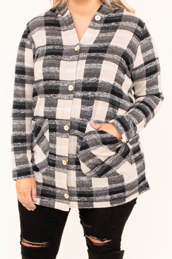 shirt, long sleeve, hood, vneck, button down, front pockets, form fitting, taupe, black, plaid, comfy, fall, winter