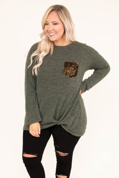 shirt, long sleeve, olive, solid, glitter pocket, twisted hemline, fall, winter