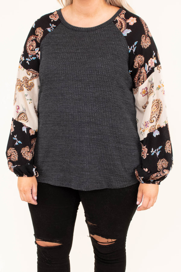 shirt, long sleeve, bubble sleeve, curved hem, short, gray, paisley sleeves, black, white, blue, brown, comfy, fall, winter