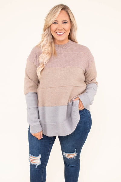 sweater, long sleeve, high neck, mauve, tan, gray, colorblock, comfy, fall, winter