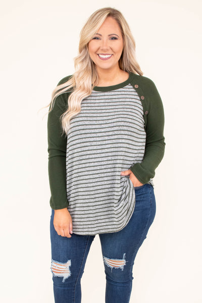 shirt, long sleeve, button details, olive, gray, striped, olive sleeves, curved hem, loose, comfy, fall, winter
