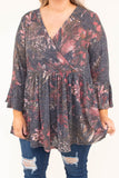 shirt, long sleeve, ruffle sleeve, wrap top, babydoll, vneck, flowy, black, red, floral, striped, comfy