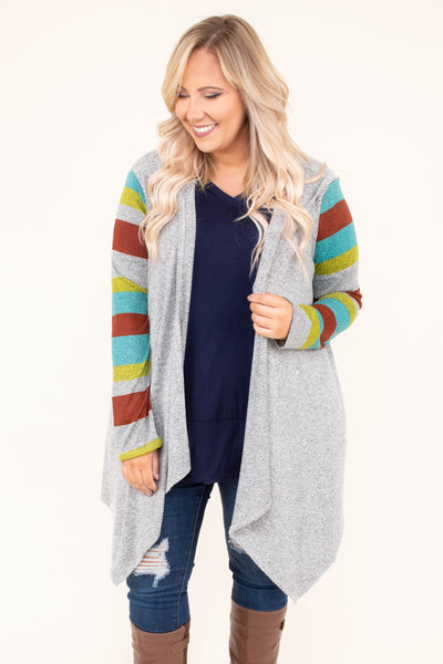 cardigan, long sleeve, hood, asymmetrical hem, long, gray, striped sleeves, blue, yellow, rust, comfy, fall, winter