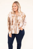 shirt, long sleeve, vneck, button down, chest pocket, side slits, flowy, fall, winter