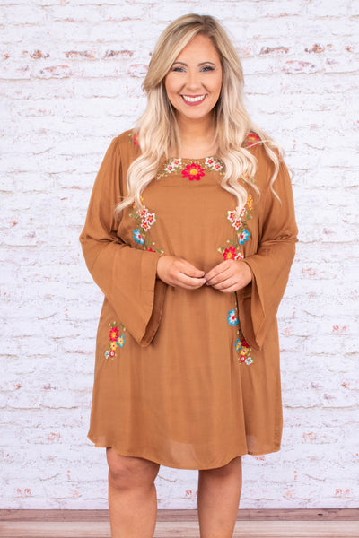 dress, long sleeve, trumpet sleeve, camel, embroidered, floral, flowy, comfy