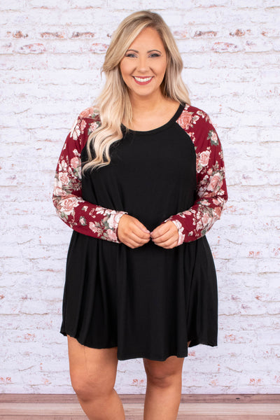 dress, short, long sleeve, scoop neck, flowy, black, floral sleeves, burgundy, pink, green, white, comfy