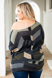 tunic, long sleeve, scoop neck, fitted waistband, chevron, black, olive, gray, tan, comfy, fall, winter