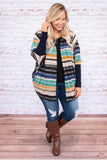 cardigan, long sleeve, fitted cuffs, long, flowy, black, tan, blue, orange, green, striped, comfy, outerwear, fall, winter