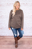 shirt, long sleeve, curved hem, mocha, heathered, loose, comfy, fall, winter