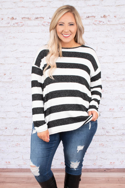 shirt, long sleeve, twisted back, white, charcoal, striped, comfy, fall, winter