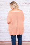 sweater, long sleeve, off the shoulder, bell sleeve, long, peach, solid, comfy, fall, winter