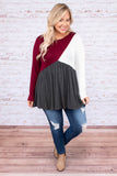 shirt, long sleeve, babydoll, black, white, burgundy, colorblock, flowy, comfy, fall, winter
