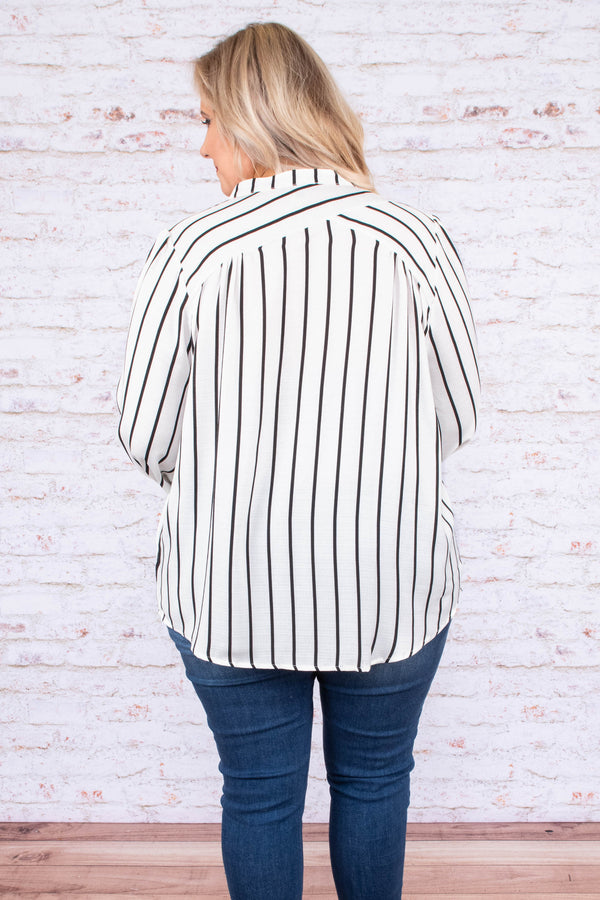 blouse, long sleeve, bubble sleeves, button down, white, black, striped