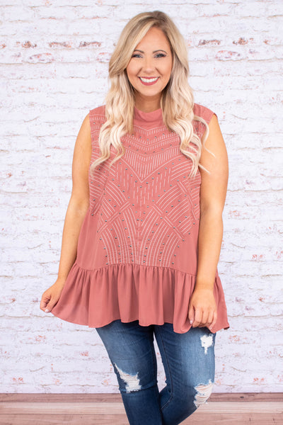 tank, high neck, ruffle hem, long, flowy, mauve, stitched detail, comfy, spring, summer