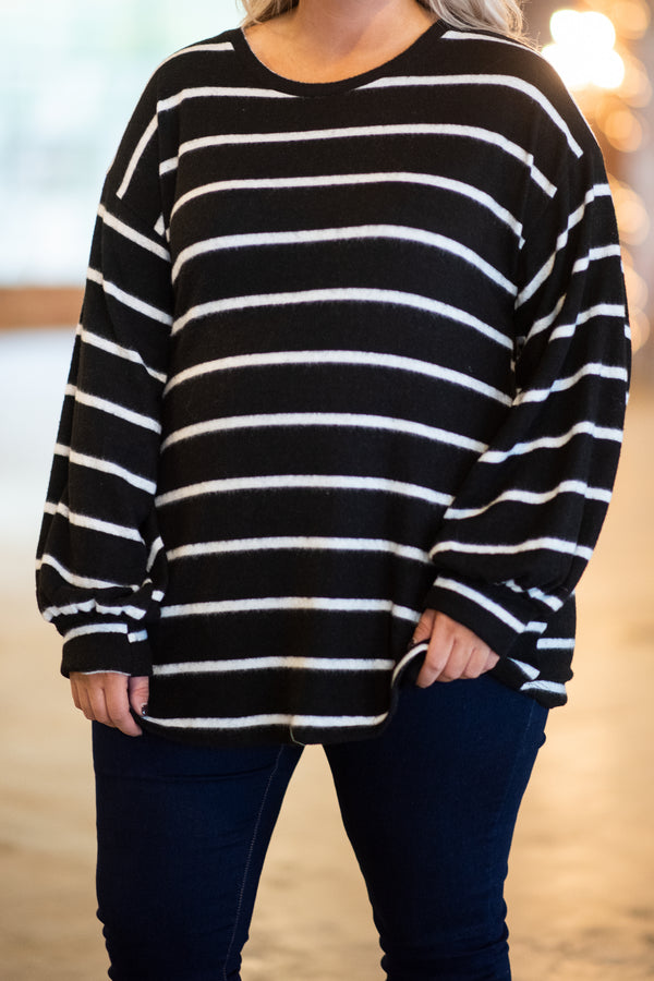 top, long sleeve, black, white, sleeve, comfy