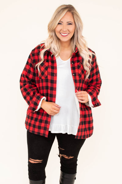 jacket, long sleeve, fur inside, button down, front pockets, red, black, plaid, comfy, outerwear, fall, winter