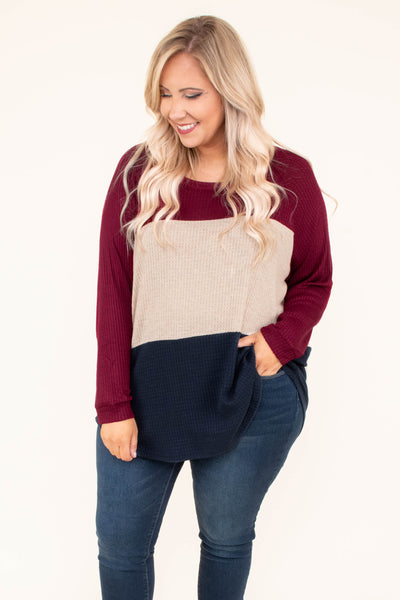 shirt, long sleeve, curved hem, waffle knit, burgundy, tan, navy, colorblock, comfy, loose, fall, winter